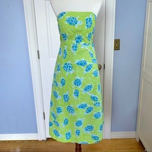 Lilly pulitzer green turtle strapless tube dress